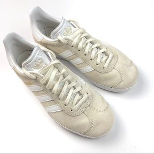 Adidas Gazelle Ivory And White Suede Sneakers 5.5